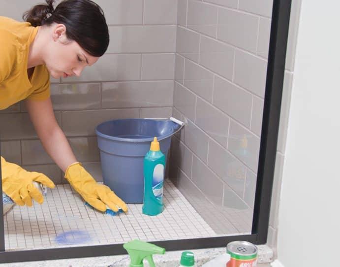 scrubbing shower